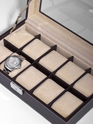 Кутия за съхранение Rothenschild RS-3360-10DBR за 10 часовника